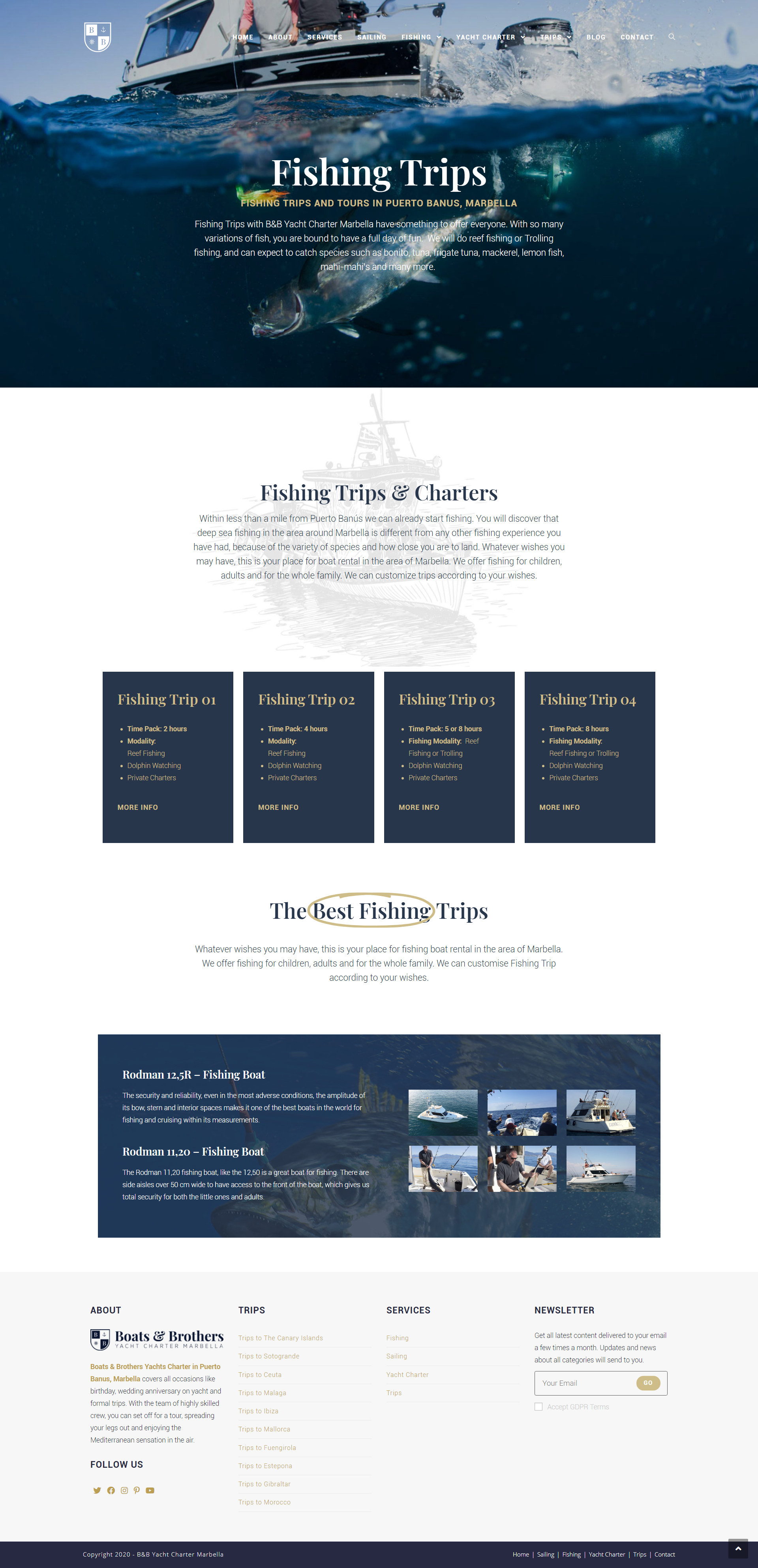 B&B Yacht Charter - Yacht Charter Website Design