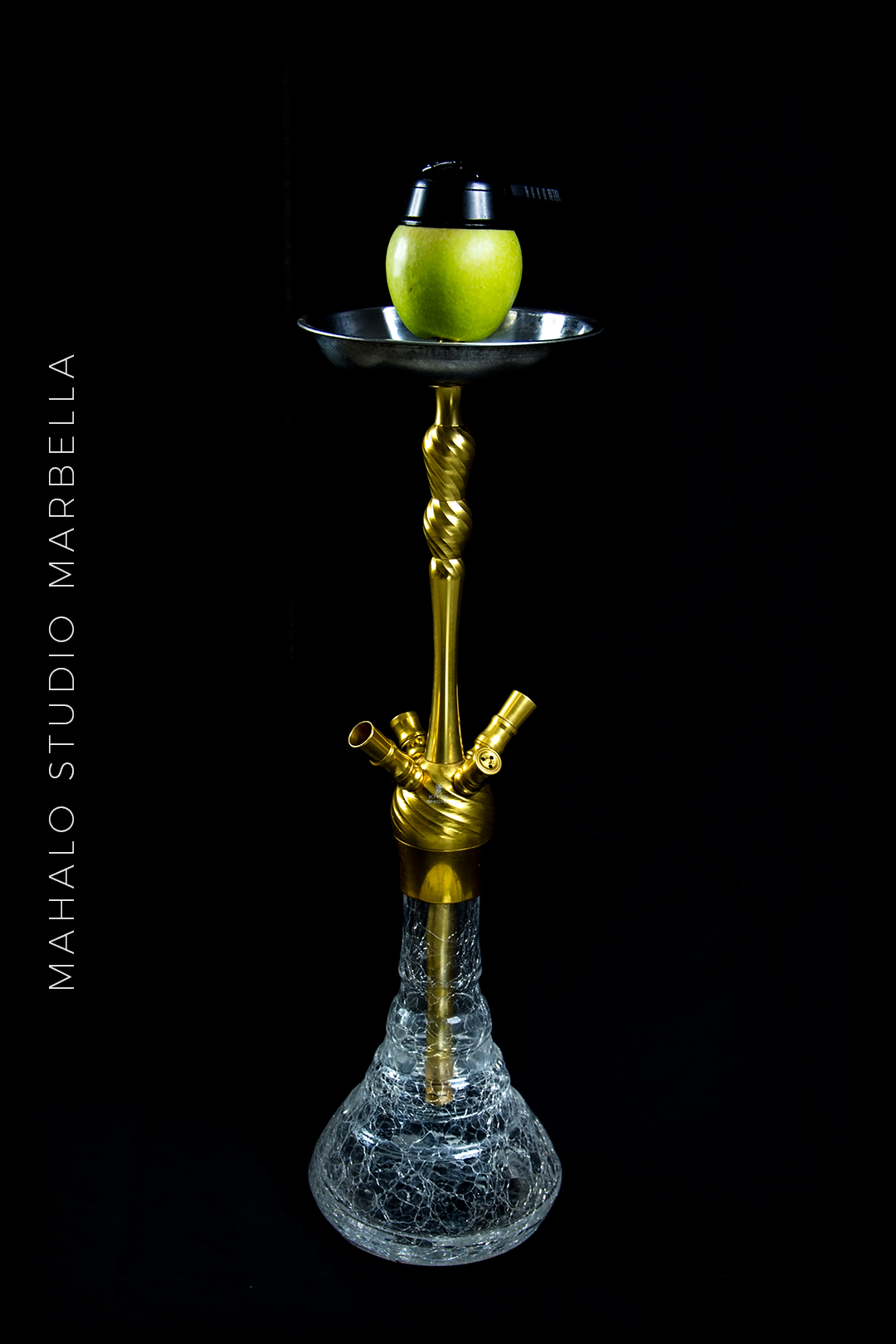 Apple Hookah Dark Black Background