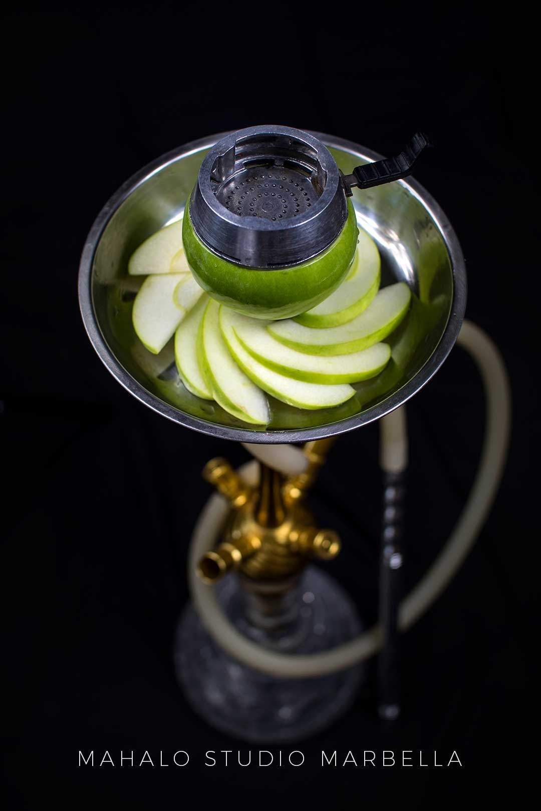 Apple Hookah Fruit Bowl Dark Black Background