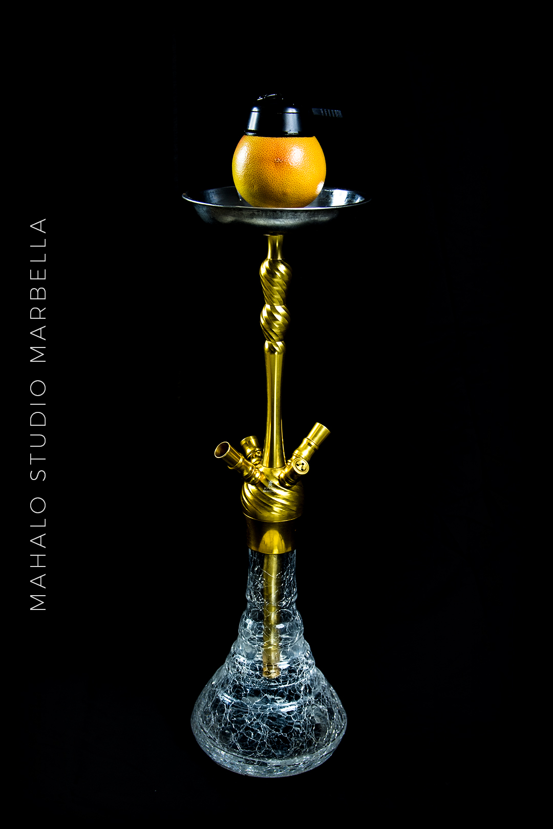Grapefruit Hookah Dark Black Background