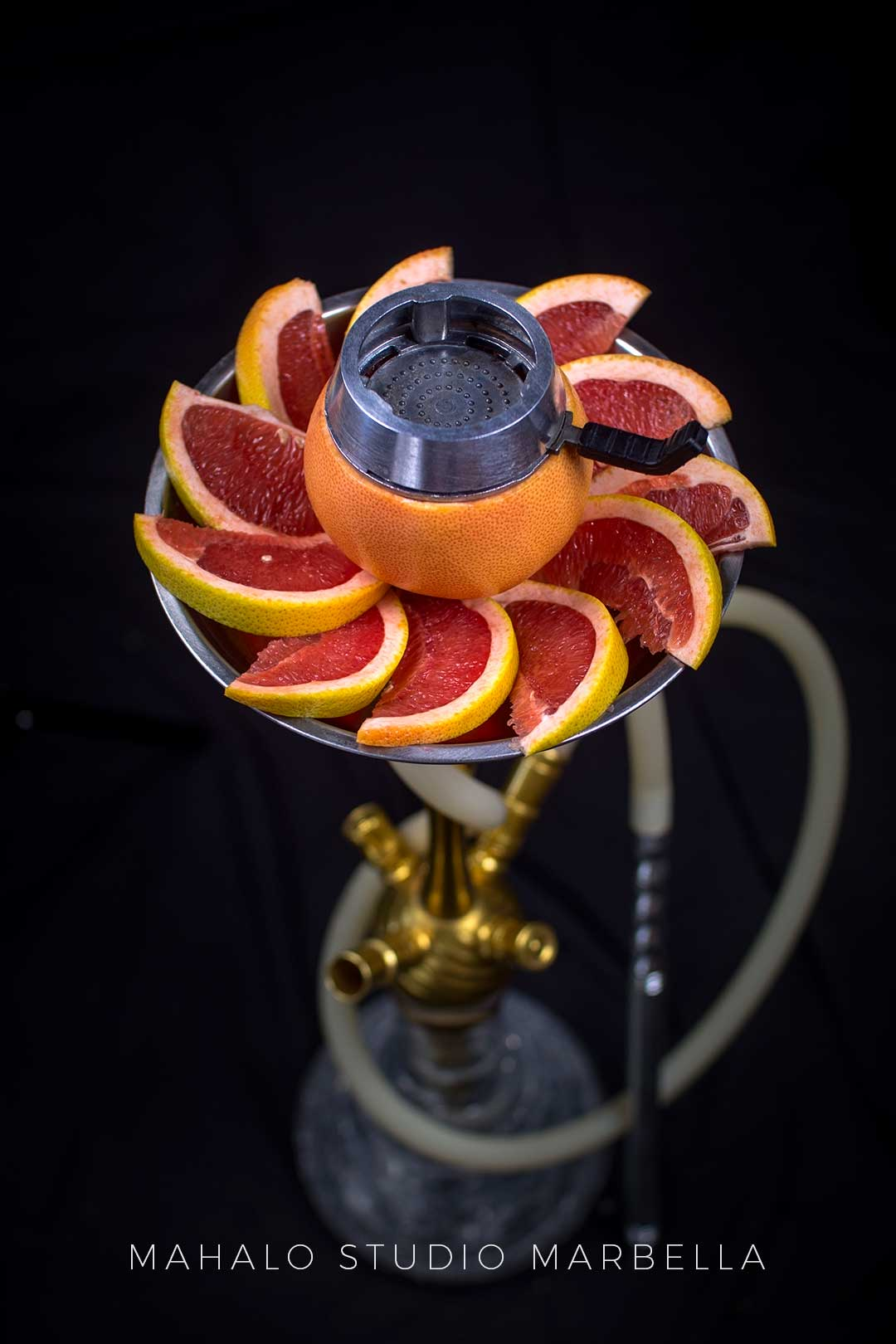 Grapefruit Hookah Fruit Bowl Dark Black Background