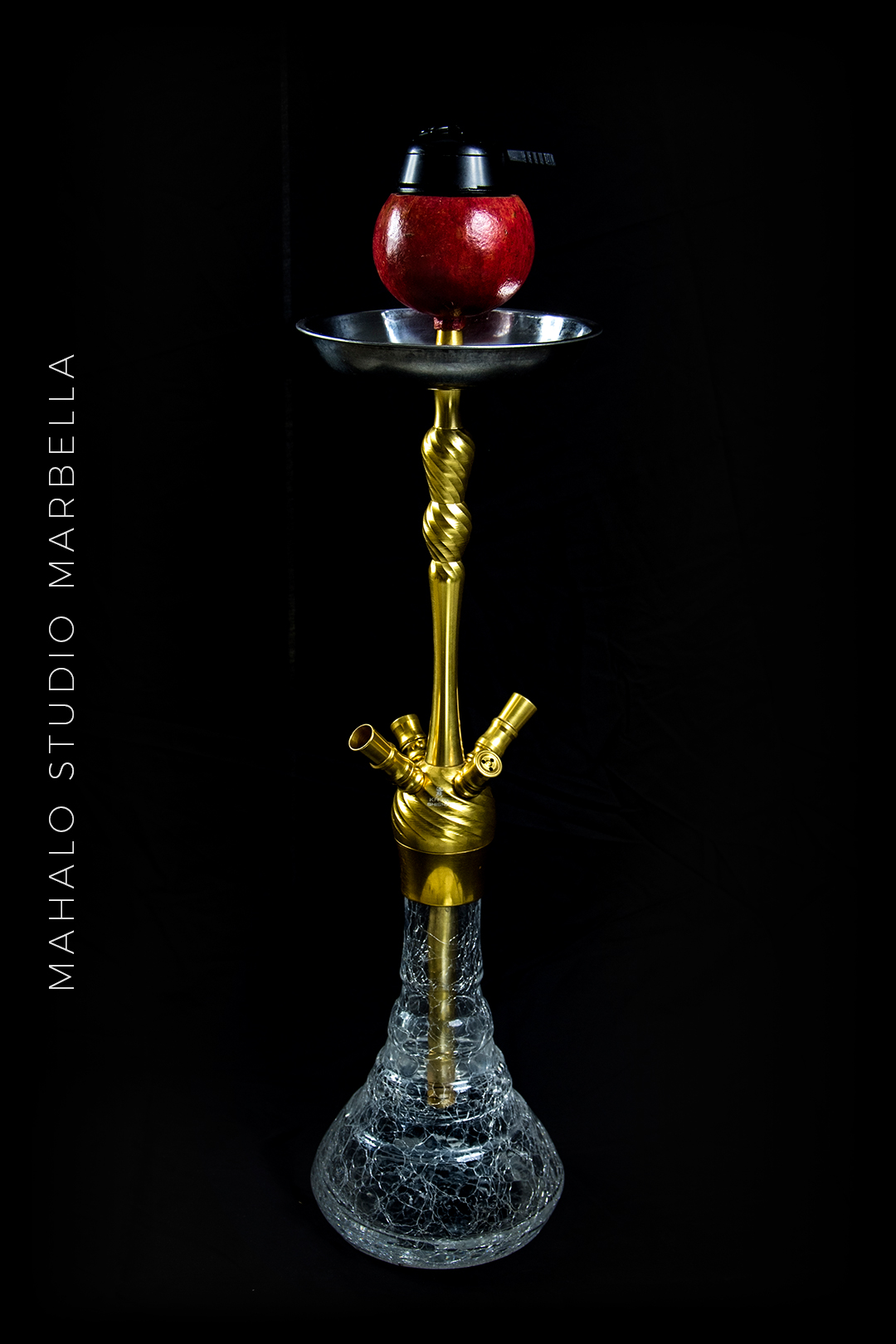 Pomegranate Hookah Fruit Bowl Dark Black Background